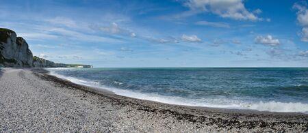 fecamp beach and cliffs overlooking the ocean
