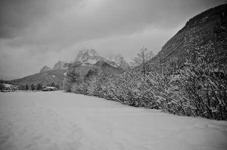 winter panorama of monte elmo, val pusteria Stock Photo