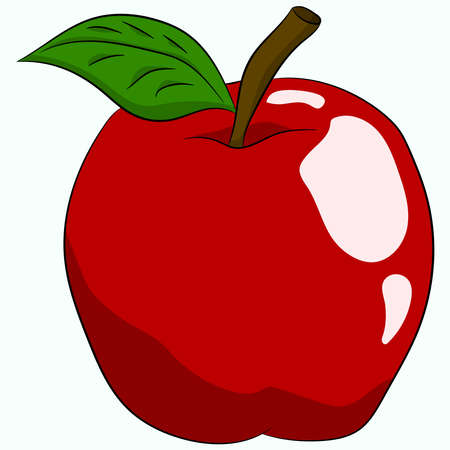 Red big apple with leaves. Illustration