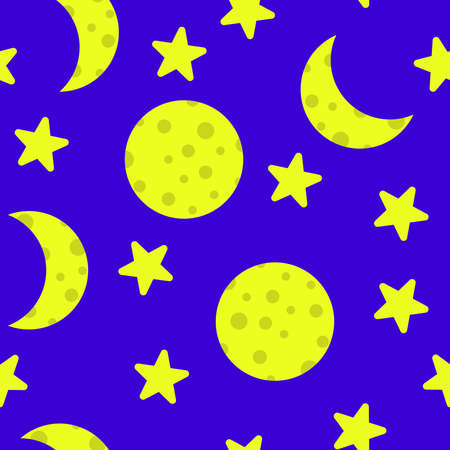 Seamless doodle, background, stars and moon. Vector illustration flat design.
