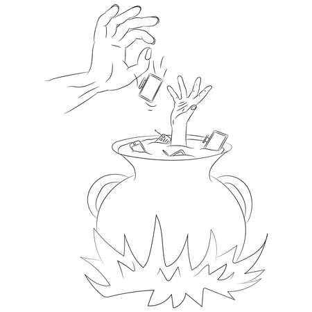 Vector illustration flat design. A man's hand reaches out of the pot, on fire, doodle. Vettoriali