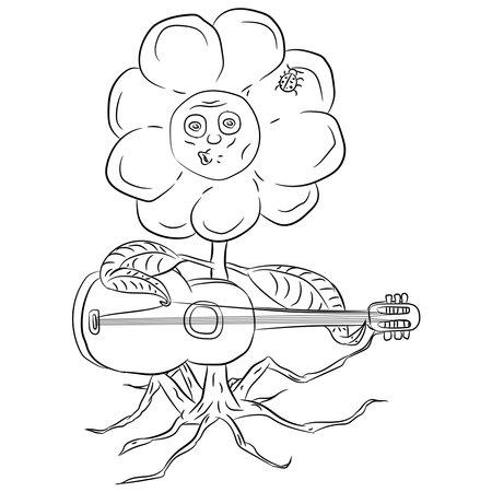 Vector illustration flat design. Doodle flower with a guitar.