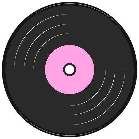Vector graphics, music record. Flat design.