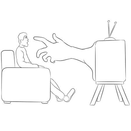 Vector illustration flat design. Hand from tv reach for man, doodle.