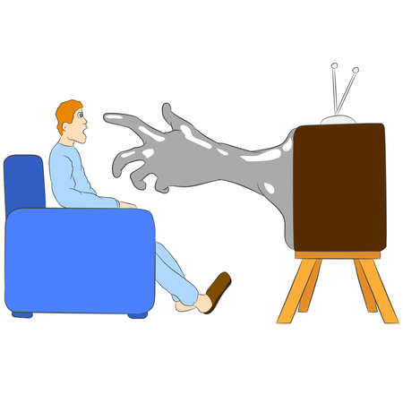 Vector illustration flat design. A hand from tv reaches for a man. Çizim