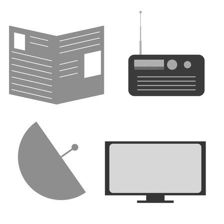 Vector graphics, mass media, set. Flat design.