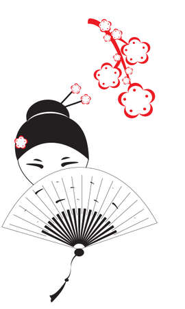 the beautiful Chinese woman with a fan and flowers of an Oriental cherry Vector