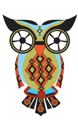 owl eyes: owl from difficult geometrical figures Illustration
