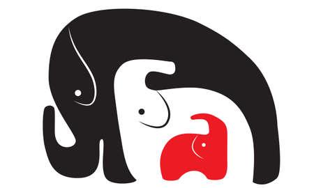 siluetas de elefantes: tres elefantes de diverso color tres en uno