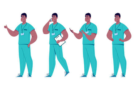 Different poses of a surgeon or paramedic in a set.