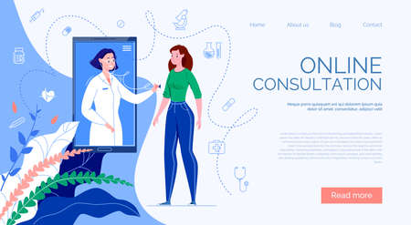 The patient meets with an online doctor via the phone application and receives a consultation. Ilustração