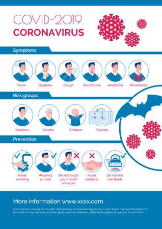 Coronavirus epidemic informational poster: symptoms, risk group, prevention.  Cartoon flat illustration.