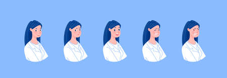 Doctor character creation set with various emotions. Isolated. Female doctor. Illustration