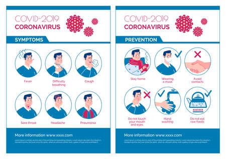 Epidemiological coronavirus informational poster: symptoms, prevention. Vector. Cartoon flat illustration.