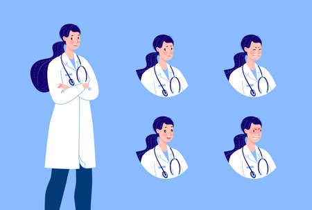 Doctor character creation set with various emotions. Isolated. Female doctor.
