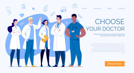Team of doctors in cartoon style. The concept of the medical team. Vector illustration.
