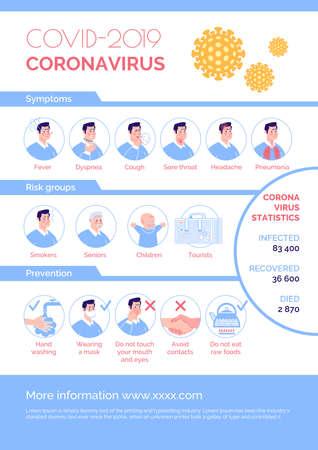 COVID 2019 Information. Epidemiological coronavirus informational poster: symptoms, risk group, prevention, statistics. Vector. Cartoon flat illustration.