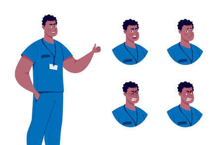 Doctor character creation set with various emotions. Isolated. Male doctor. Illustration