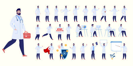 Doctor character creation set with various poses and gestures. Isolated. Male doctor.