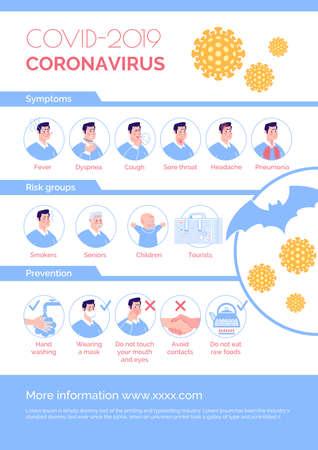 Coronavirus epidemic informational poster: symptoms, risk group, prevention. Vector. Cartoon flat illustration. 向量圖像
