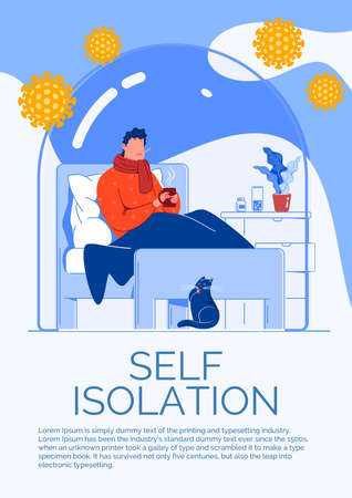 A flu patient lies in bed under a blanket with a thermometer and a mug of tea. The concept of self-isolation in the coronovirus pandemic.