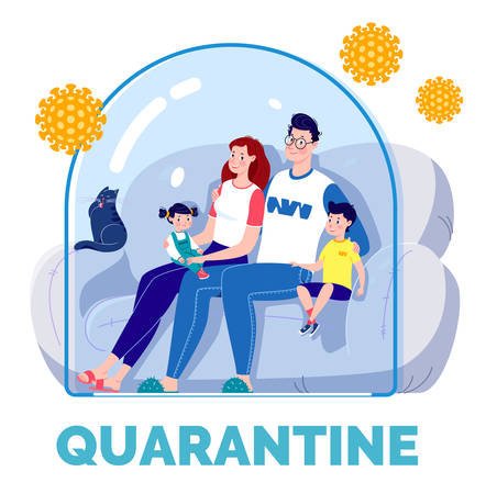 The concept of quarantine self-isolation. The family is sitting on the couch under a glass cap and watching TV. Virus protection. Vector. Flat cartoon style.