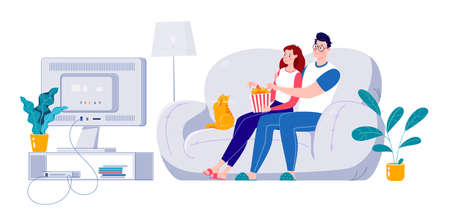 The family watches TV. Married couple watching a movie on a big screen sitting on a sofa at home. Self-isolation at home. Vector. Flat mul style illustration.