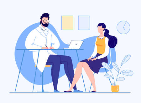 The Patient in the Doctor s Office Doctor Visit Consultation Modern Clinic Diagnostics Vector Illustration Flat Cartoon Doctor's Appointment