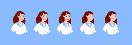Doctor in various emotions. Character design set. Vector illustration in a flat cartoon style.