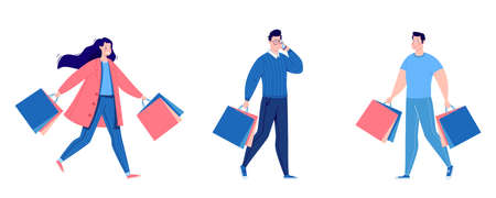 Set of people shopping. People with packages and shopping. Men and women, vanity, sale. Vector. Illustration in a flat cartoon style.