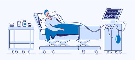 Intensive care of a seriously ill patient. A sick man lies in a medical bed on artificial lung ventilation. Vector. Illustration. Flat style Vectores