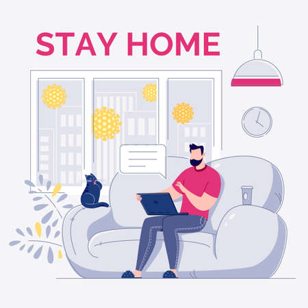 A freelance employee works at home at a quiet pace, at a convenient time. Character young modern man sitting on a sofa working or talking on a laptop in a comfortable environment. At home during quarantine on self-isolation. Vector flat cartoon style illustration.