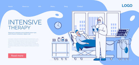 Intensive care of a seriously ill patient. A sick man lies in a medical bed on artificial lung ventilation. Vector. Illustration. Flat style. Ilustracje wektorowe