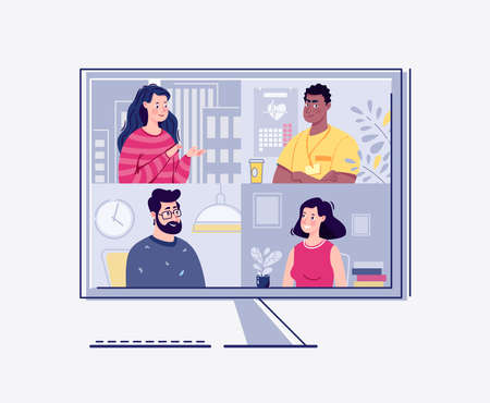 Videoconference, webinar. The concept of online meetings. Vector. Flat cartoon style. Illustration.