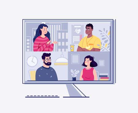 Videokonferenz, Webinar. Das Konzept der Online-Meetings. Vektor. Flacher Cartoon-Stil. Illustration. Vektorgrafik