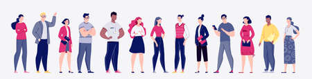 Business confident people flat vector illustration set. The concept of the various activities of men and women: students, scientists, politicians, businessmen. Caucasians, Africans.
