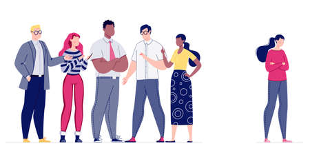 Psychological pressure on the employee by the management of the company or the whole team. The staff does not accept a colleague in their team. Mobbing. Vector. Illustration in flat cartoon style.