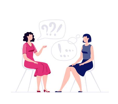 Deux femmes sont assises et discutent. Psychologue et cliente. Consultation de psychologue. Psychothérapeute. Une séance de psychothérapie. Illustration vectorielle en style cartoon plat.