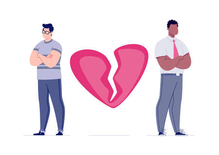 The concept of breaking the love relationship. Divorce. Former couple. Conflict between lovers. Broken heart. Parting homosexual couple. Vector. Illustration in a flat cartoon style. Illustration
