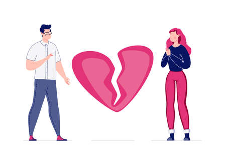 The concept of breaking the love relationship. Divorce. Former couple. Conflict between lovers. Broken heart. Parting couple. Attempt to make peace. Vector. Illustration in a flat cartoon style.