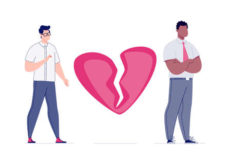 The concept of breaking the love relationship. Divorce. Former couple. Conflict between lovers. Broken heart. Parting homosexual couple. Attempt to make peace.Vector. Illustration in a flat cartoon. Illustration