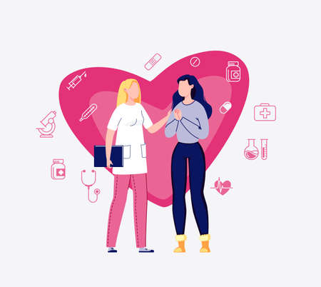 The concept of medicine and healthcare. The doctor reassures the patient. Doctor and patient. Cardiologist talking to a woman. Background big heart. Vector illustration in flat cartoon style.