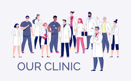 Team of doctors in cartoon style. The concept of the medical team. Doctors, nurses, orderlies - medical staff. Vector. Illustration in flat style.