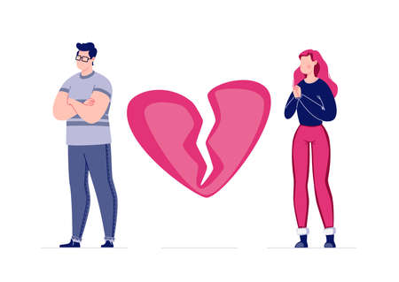 The concept of breaking the love relationship. Divorce. Former couple. Conflict between lovers. Broken heart. Parting couple. Attempt to make peace. Vector. Illustration in a flat cartoon style. Stock fotó - 150624993
