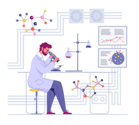 A doctor looks through a microscope in a laboratory and conducts a study.