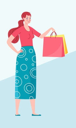 Buyer. Woman with packages from the store. Vector illustration.