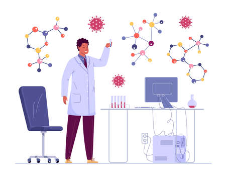 In a bright, modernly equipped laboratory, a young microbiologist is working on a new medicine. We got the formula! Ilustração Vetorial