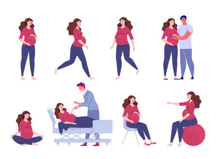 Pregnant woman. Seeing a doctor, walking, exercise with a ball, meditation, sitting relaxation. A loving husband hugs his pregnant wife and holds his hand on his stomach. Vector. illustration. Ilustracja