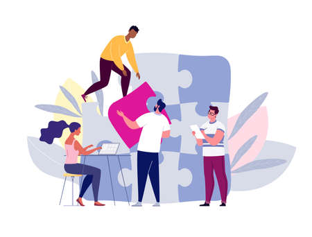 Team building concept. Business team metaphor. Business partners or company employees work together on a project. Young people put together puzzle pieces. Illustration.Vector. Flat. Cartoon. Vettoriali