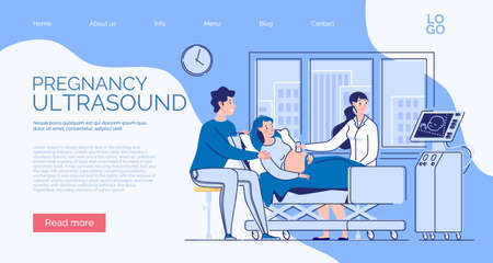 Website banner about the health of mother and child in the perinatal period. Pregnant wife and husband at the consultation of the doctor of ultrasound diagnosis. Ultrasound of the fetus. The doctor shows the child on the monitor screen and tells future parents about his development.